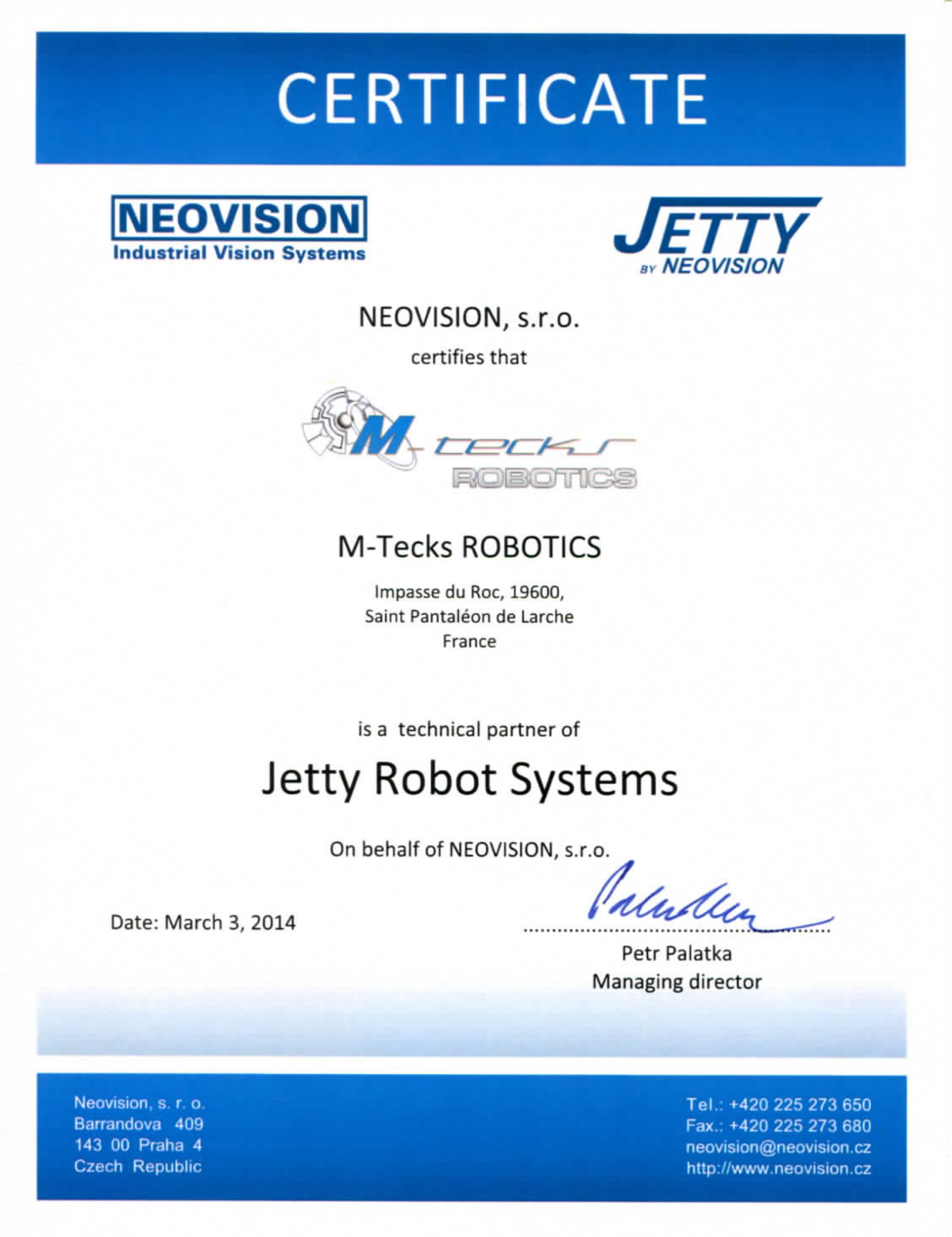 Certificat technique JETTY-M-TecksROBOTICS 2014